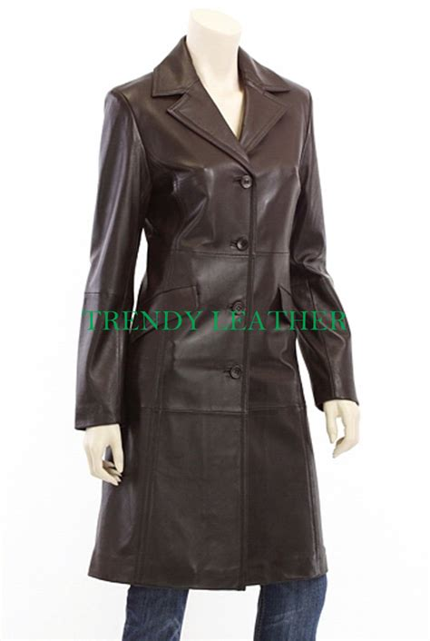 womens stylish brown antique real leather long coat ...