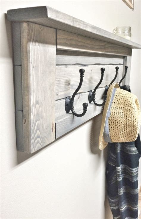 Wood Grey Entryway Coat Rack with Hooks, Rustic Home Decor ...