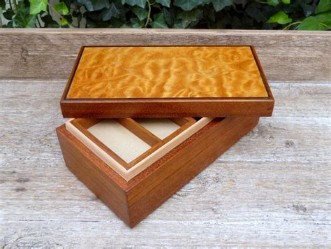 Wooden Keepsake Box w/ Small Lift Out Tray Jatoba and ...