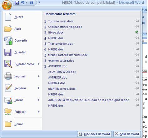 Word 2007   Utilizar la lista de Documentos recientes ...