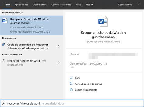 Word: Cómo recuperar ficheros no guardados o perdidos