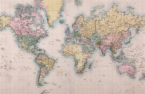 World of Mercator's Projection Map Mural | MuralsWallpaper ...