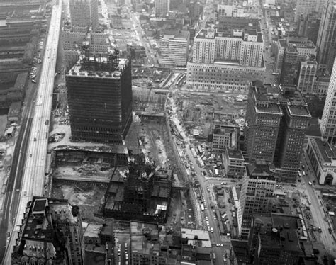 World Trade Center: a south looking aerial image depicts ...