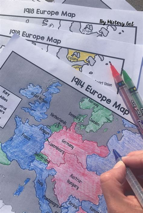 World War I Map Activity  1914 and 1918 Europe Maps   With ...