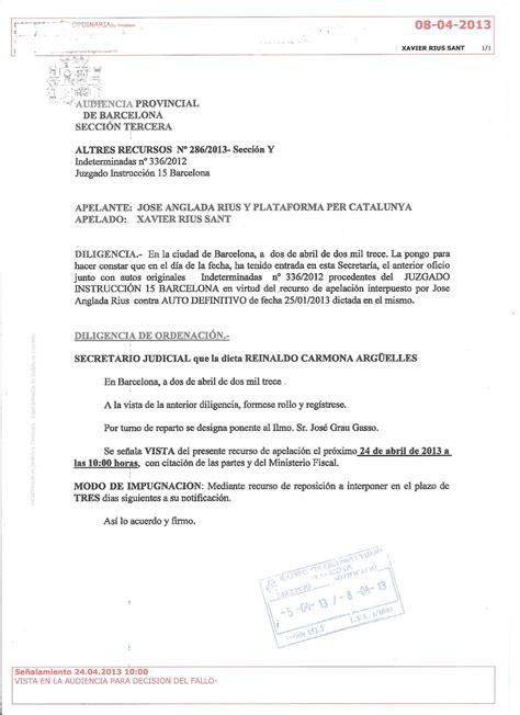 Xavier Rius Sant: DIMECRES, VISTA A L AUDIÈNCIA DE ...