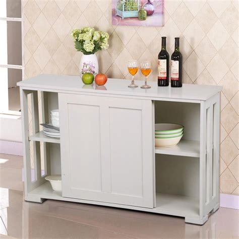 Yaheetech Antique White Stackable Sideboard Buffet Storage ...