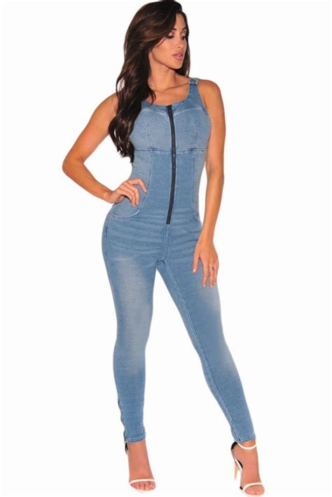Yc64108 New Casual Combinaison Blue Jean Jumpsuits Stretch ...