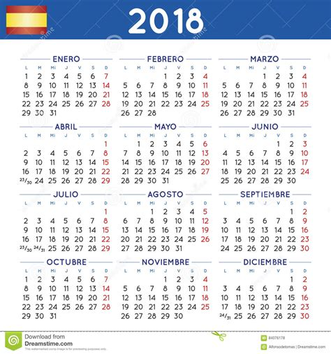 Year 2018 Squared Calendar Spanish Week Starts On Monday ...