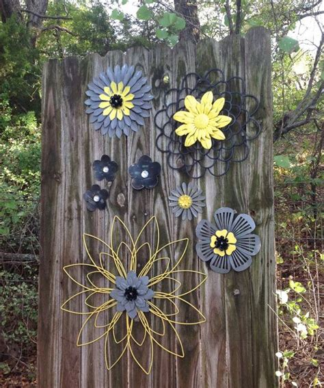 Yellow Gray Black 3D Metal Fence Flowers by ...