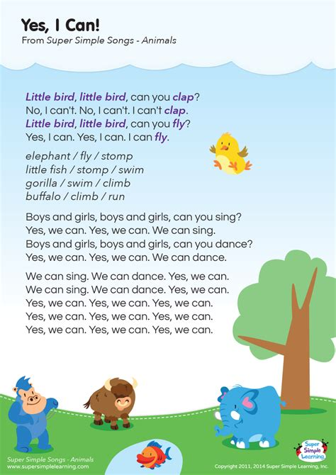 Yes, I Can! Lyrics Poster   Super Simple