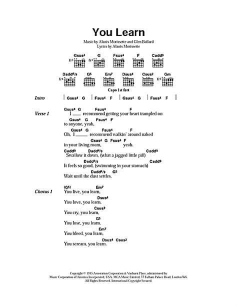 You Learn sheet music by Alanis Morissette  Lyrics ...