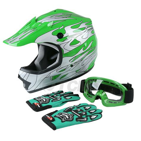 Youth Green Flame Dirt Bike ATV Motocross Helmet MX W ...