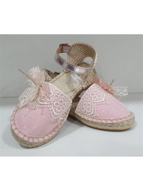 Zapato de comunión esparto rosa de niña