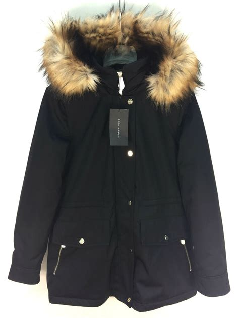 ZARA BLACK PARKA COAT WITH FUR HOOD SIZE XS M REF 5065 246 ...