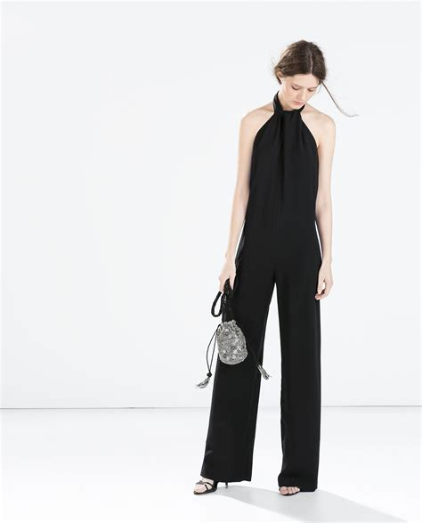 Zara Crepe Jumpsuit With Back Bow in Black | Lyst