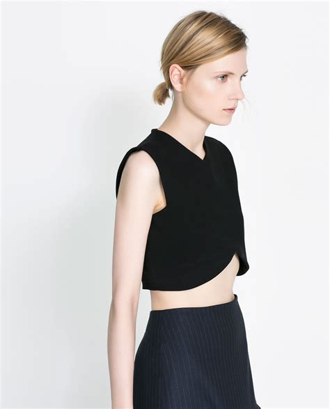 Zara Cropped Top in Black | Lyst