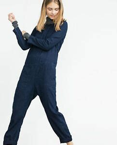ZARA DARK BLUE DENIM JUMPSUIT WITH LONG SLEEVES AND SIDE ...