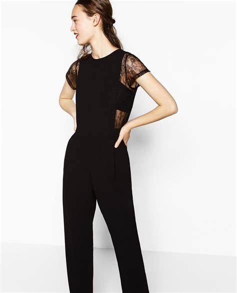 ZARA   WOMAN   CONTRAST LACE JUMPSUIT | Trajes mujer, Ropa ...