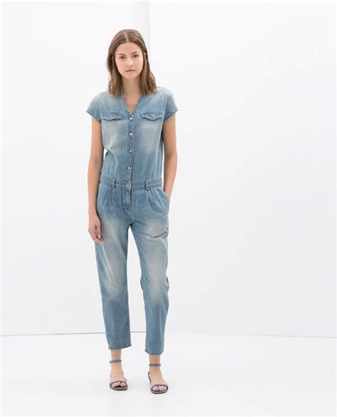 ZARA   WOMAN   SHORT SLEEVE DENIM JUMPSUIT  con immagini