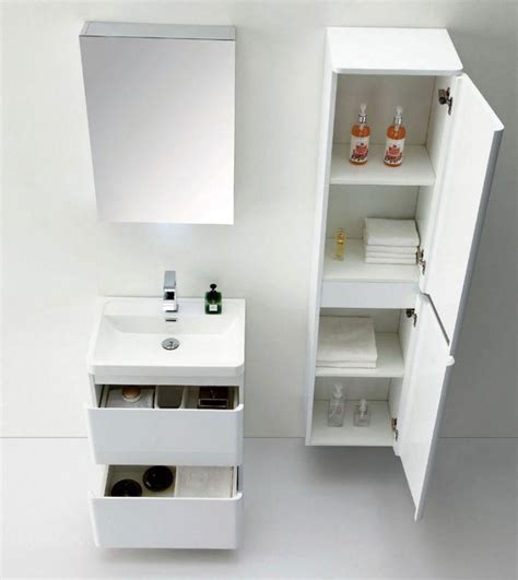 Zenit Wall Mounted Tall Bathroom Cabinet White Gloss