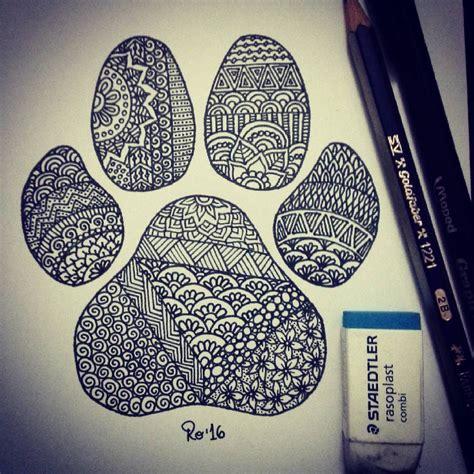 Zentangle wolf/dog paw. Huella de perro/lobo. By Rocío ...