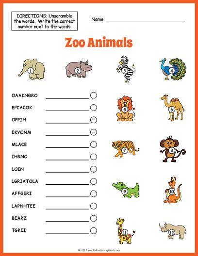 Zoo Animals Vocabulary Worksheet