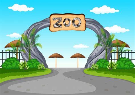 Zoo entrance with no visitors Vector   Premium Download