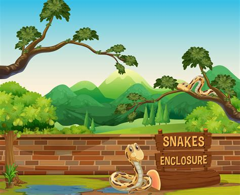 Zoo scene with snakes at day time   Download Free Vector ...